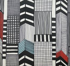 Ruutukaava Wall Covering Black and White illustrated abstract cityscape wall covering with Shocks of red and Aquamarine.