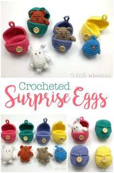 Kids love seeing what is hidden inside a blind bag or surprise egg and now you can crochet your own. The mini stuffed animals are made with the same basic pattern and each fits inside a crocheted egg that buttons closed. Great for little gifts or stocking Crochet Easter, Chat Crochet, Crochet Mignon, Easter Crochet Patterns, Amigurumi Patterns, Crochet For Kids, Crochet Dolls, Crochet Baby, Crochet Unicorn