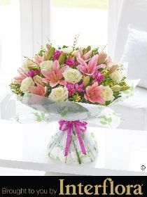 Happy Birthday Spring Rose , Lily and Freesia Hand tied with Happy Birthday Balloon
