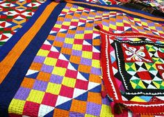 In the typical rural areas of Sindh, Rilli is much more than a household or gift item. It is part and parcel of a bride's dowry articles. Girls start weaving Rilli in their childhood with the hopes of a happy and prosperous marital life. Punjabi Culture, Pakistan Zindabad, Patchwork Quilt Patterns, Arts Integration, World Crafts, Handicraft, Quilts, Quilt Art, Handmade Products