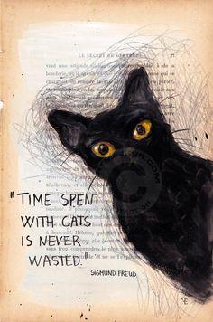 TIME - VENDU - SOLD - Peinture, 19x28,5 cm ©2015 par evafialka - Art figuratif, Impressionnisme, Papier, Animaux, Chats, chat, animal portrait, cat, vintage paper, acrylic painting, quotes