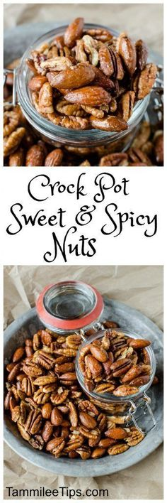 Crock Pot Sweet and Spicy Nuts Recipe perfect for Christmas! Super easy recipe that is great for DIY Holiday gifts. The crockpot/slow cooker does all the work and you have a great gift or snack! #crockpot #slowcooker #diy #christmas #thanksgiving # holiday #gifts