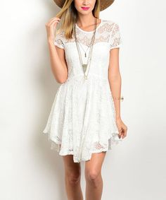 Off-White Crochet Skater Dress #zulily #zulilyfinds