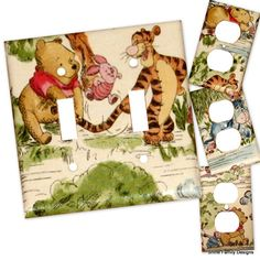 Winnie the Pooh IV Double Light Switch Plate/Outlet Covers Set. $14.99, via Etsy.