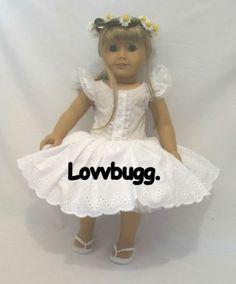 "Eyelet Lace Dress+ Daisy Wreath Dance for 18"" American Girl Doll LOVVBUGG"
