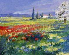 fleur peinture: coquelicots rouges sur le pré d'été - peinture à l'huile sur acrylique