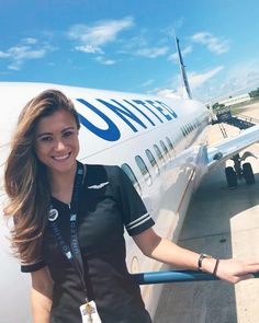 Image may contain: 1 person, sky and outdoor Airline Attendant, Flight Attendant Life, Onur Air, Pegasus Airlines, Airline Cabin Crew, Bus Girl, Airline Uniforms, Female Pilot, United Airlines