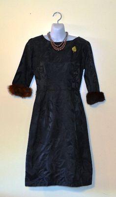 Black Leaf Print with Fur Cuff Dress by KrisVintageClothing, $50.00