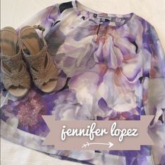 Jennifer Lopez Floral Sheer Shirt Beautiful condition!  Never been worn - no tags.  This would be excellent for Easter!  Great pale purples and very light fabric, comfortable to say the least!  Size Small. Jennifer Lopez Tops Blouses