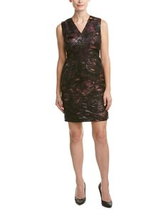 Lafayette 148 New York Womens Petite Kendall Sheath Dress, 12P. Color/pattern: Roselle multicolor. Approximately 34in from shoulder to hem. Measurement was taken from a size 4p and may vary slightly by size. Model is 5ft 8in. Design details: jacquard design, seaming details, vented back hem.