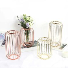 Lantern Shaped Nordic Style Wrought Flower Holder Iron Plated Home Wedding Decor Couleur Or Rose, Flower Holder, Vintage Display, Glass Terrarium, Nordic Style, Home Wedding, Hand Blown Glass, Wrought Iron, Flowers