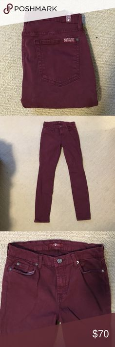 Seven for all mankind maroon skinny/straight jeans These pants have been worn once and are in perfect condition 7 For All Mankind Pants Straight Leg Maroon Jeans, Skinny Jeans, Legs, Best Deals, Womens Fashion, Pants, Closet, Style, Trouser Pants
