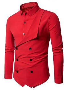 Men Shirt Brand Personality Double-breasted Fake Two Shirt Formal Solid Color Slim Fit Cotton Long Sleeve Dress Shirts Camisa Long Sleeve Cotton Dress, Long Sleeve Shirt Dress, Long Sleeve Shirts, Shirt Sleeves, Cheap Mens Shirts, Mens Shirts Online, Men Shirts, Shirt Men, Cool Shirts For Men