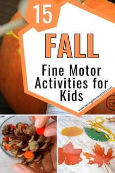 Develop fine motor skills this Autumn with these 15 Fall fine motor activities for kids. Toddlers, preschoolers and kindergartners will love these fun and easy Fall play ideas. #fall #autumn #finemotor #toddlers #preschool #kindergaten Fall Activities For Toddlers, Rainy Day Activities, Kids Learning Activities, Spring Activities, Family Activities, Creative Arts And Crafts, Fun Crafts For Kids, Play Ideas, Motor Skills