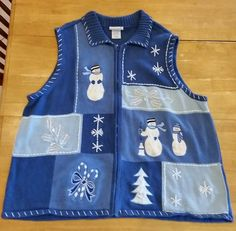 Ugly Christmas Sweater Vest Women's Men's 3X Zip Front Blair Bead Snowmen Blue in Clothing, Shoes & Accessories | eBay
