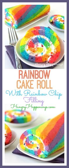 This St. Patrick's Day enjoy a slice of brightly colored Rainbow Cake Roll filled with Rainbow Chip Frosting instead of searching for that elusive pot of gold. Rainbow Baking, Rainbow Sweets, Cake Rainbow, Rainbow Food, Rainbow Desserts, Rainbow Parties, Rainbow Snacks, Rainbow Colors, Rainbow Birthday Cakes