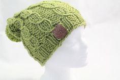 """Strickmütze """"Braids """"  hellgrün mit Bommel von Sabine Lambrecht auf DaWanda.com"""