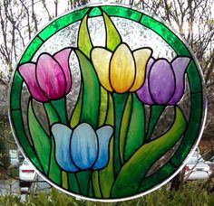 The simple, colorful, regal Tulip may just be my favorite flower. They are so sleek and smooth. I love the long elegant petals and the s. Glass Painting Patterns, Stained Glass Patterns Free, Stained Glass Quilt, Glass Painting Designs, Stained Glass Flowers, Stained Glass Designs, Stained Glass Suncatchers, Faux Stained Glass, Stained Glass Panels