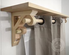 Pair of Shelf Brackets with Dual Curtain Holder is a heavy duty curtain holder made entirely from reclaimed solid wood by Chicago Lumber Recycling, Inc. This bracket combination X 12 X comes as a shelf support with rod holder. Shelf Support Brackets, Wood Shelf Brackets, Diy Wood Shelves, Window Shelves, Wooden Corbels, A Shelf, Wooden Curtain Rods, Diy Curtain Rods, Drapery Rods