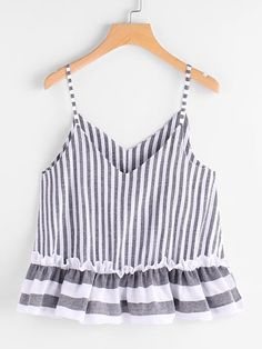 To find out about the Contrast Striped Frill Hem Cami Top at SHEIN, part of our latest Tank Tops & Camis ready to shop online today! Casual Skirt Outfits, Cute Outfits, Plus Size Tank Tops, Crop Tops, Women's Tops, Striped Cami Tops, Diy Vetement, Girl Fashion, Fashion Outfits