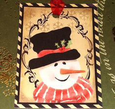 Snowmen Christmas Tags Vintage Look Set of 6 by SiriusFun on Etsy, $5.85