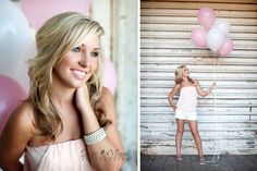 #balloons pink & white senior girly girl photoshoot: