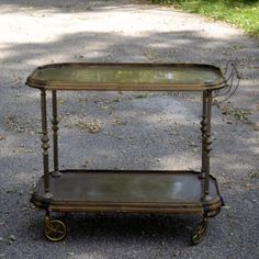 Vintage Brass and Wood Bar Cart