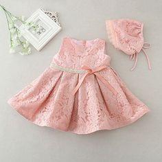 bf24ba1c7a3 Newborn Baby Girl Dress with Cap Super Back Bow Diamond Belt
