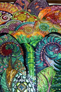 Very detailed and colorful mosaic with swirls.