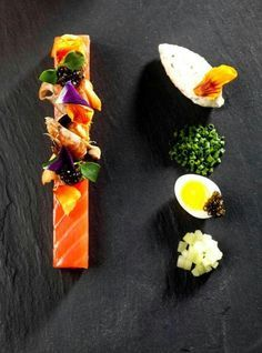 I like the look of presentation on crisp white plates, but other colors work quite well. Black, and black slate as shown here are wonderful to highlight the food. Rubyd