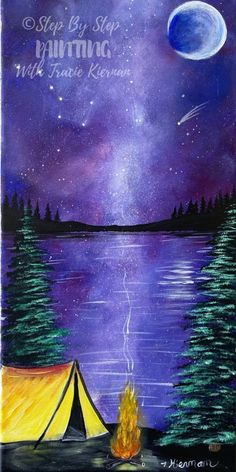Learn how to paint galaxy campsite step by step. Acrylics on canvas. How to paint a galaxy. Galaxy painting. Canvas Painting Tutorials, Easy Canvas Painting, Diy Canvas Art, Canvas Paintings, Painting Art, Acrylic Tutorials, Space Painting, Summer Painting, Small Canvas