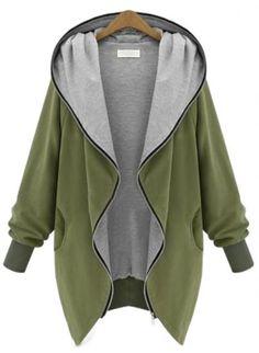 Green Hooded Long Sleeve Pockets Loose Coat - Sheinside.com