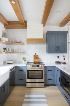 Noteworthy : Dreaming of a Beach House Room for Tuesday Kitchen Cabinets beach Dreaming House Noteworthy Room Tuesday Blue Gray Kitchen Cabinets, Kitchen Cabinet Layout, Kitchen Grey, White Cabinets, Cabinet Design, Blue Kitchen Interior, Cabinet Ideas, Stain Cabinets, Blue Gray Kitchens