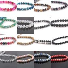 Agate Beads 18 Colors Round Crystal Natural Stone Loose Beads For Jewelry Diy making 6mm about 63pcs TRS0030(China (Mainland))