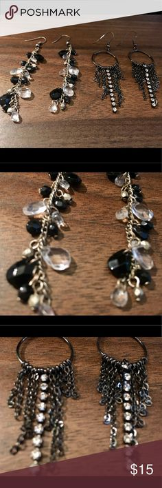 Black Earrings Set Set includes: Black and white dangling earrings, dangling rhinestone earrings with hoop Jewelry Earrings