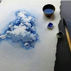 orgeous clouds ☁️ By Watercolor Painting Techniques, Watercolour Painting, Painting & Drawing, Watercolours, Watercolor Clouds, Watercolor Landscape, Watercolor Pictures, Artist Sketchbook, Art Corner