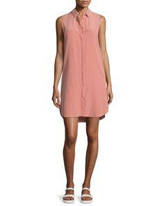 Lanie+Sleeveless+Button-Front+Shirtdress,+Desert+Sand+by+Equipment+at+Bergdorf+Goodman.