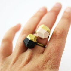 pale pink OR black gold dipped geo ring by amerrymishap on Etsy, $24.00