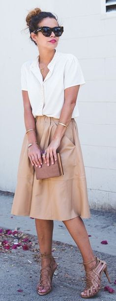 #summer #blush #pink #outfitideas | White Top + Midi Leathered Skirt