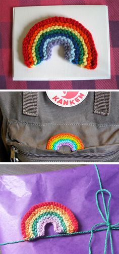 Free Knitting Pattern for Happy Rainbow Patch - Easy rainbow that can be used as a patch, brooch, hair clip, or to embellish other craft projects. Great stashbuster!