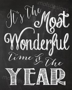 It's The Most Wonderful Time Of The Year CHRISTMAS WALL ART Sign Vintage Chalkboard Printable Noel Baby Family Photo Prop Decor Print 8x10