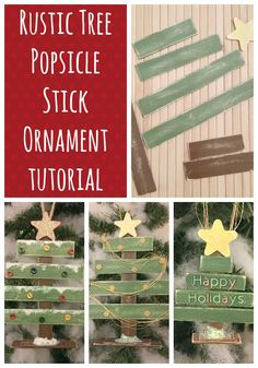 Rustic Tree Popsicle Stick Ornament Tutorial Christmas Crafts For Kids, Diy Christmas Ornaments, Rustic Christmas, All Things Christmas, Handmade Christmas, Holiday Crafts, Christmas Decorations, Spring Crafts, Xmas