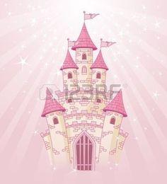 Фантазия: Иллюстрация сказка принцесса розового замка на радиальной фоне
