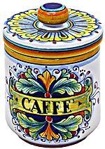 Ceramic Coffee Jar - 90/Ramina design - 13cm high x 9cm diameter (5.25 in high x 3.75 in diameter)