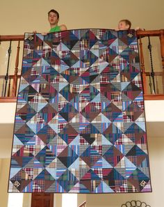 Quilt Patterns For Mens Quilts : The Fleming s Nine: Custom Memory Quilt from Men s Shirts Man Quilt, Boy Quilts, Scrappy Quilts, Flannel Quilts, Plaid Quilt, Shirt Quilts, Denim Quilts, Dad To Be Shirts, Men's Shirts