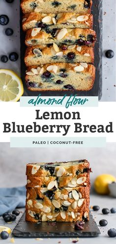 Almond Lemon Blueberry Bread The BEST Paleo Lemon Blueberry Bread ever! The texture is AMAZING. Tastes like pound cake. Love this combination! Paleo Dessert, Paleo Sweets, Healthy Dessert Recipes, Healthy Baking, Real Food Recipes, Baking Recipes, Yummy Food, Paleo Meals, Muffin Recipes