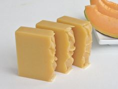 Cantaloupe Soap, Fruit Soap, Homemade soap, Organic soap, Moisturizer Soap, Natural soap, Vegan soap, Skin Care Soap, Cold process soap. by ZelieAllNaturalSoap on Etsy https://www.etsy.com/listing/240443401/cantaloupe-soap-fruit-soap-homemade-soap
