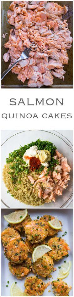 Salmon Quinoa Cakes - transform leftover salmon into these delicious super moist and tender cakes. Pinterest: @annahpyra