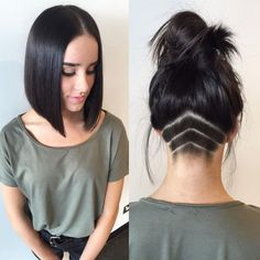 Longbob Frisuren - Gorgeous Dark Blunt Long Bob Hair By - Blunt Bob Hairstyles, Latest Hairstyles, Hairstyles 2018, Short Haircuts, Undercut Hairstyles Women, Undercut Women, Wedding Hairstyles, Female Undercut, Amazing Hairstyles