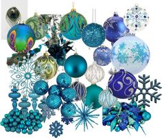 """""""Blue & Peacock Christmas Ornaments"""" by jesschrist on Polyvore"""